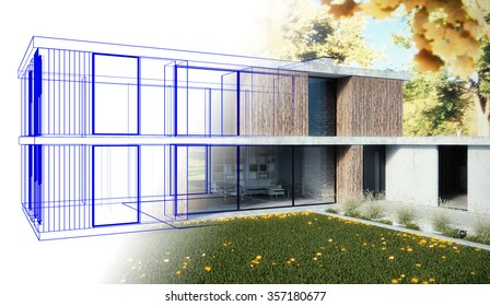 3D render - Family home - draft