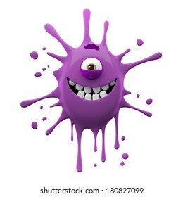 3D render fantasy monster, color grunge character, funny design element, humour emoticon, unique expression sticker isolated on the white background