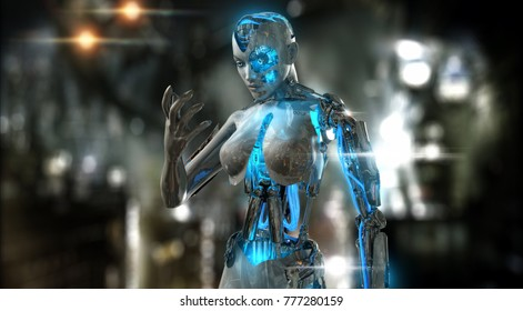 3d render of a female android character