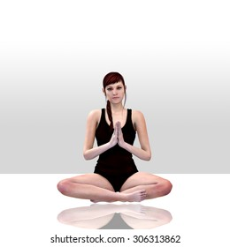 3d render of a female doing yoga