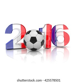 3d render - Figures 2016 with french flag, football isolated on white background.