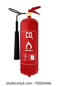 3d render fire extinguisher isolated on white background (carbonic acid)