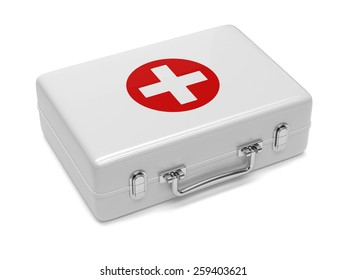 3d render of first aid kit isolated on white background