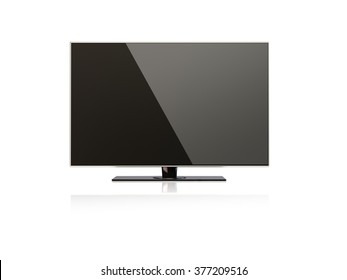 3D render of a flatscreen LED, LCD full hd or 4K smart  television. Isolated on white background with clipping path.