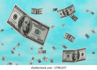3D Render Flying $100 Dollar Bill
