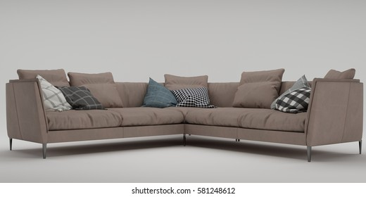 3d render front view sofa