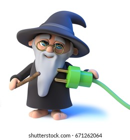 3d render of a funny cartoon wizard magician pointing to a green energy power lead with his magic wand