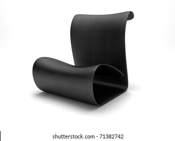 3d render of futuristic black leather chair isolated on white