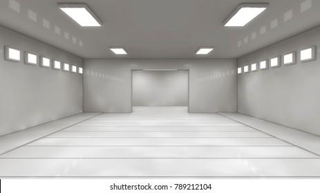 3D render. Futuristic empty interior corridor