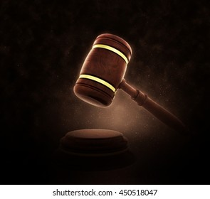 3D render of a gavel on a dramatic background