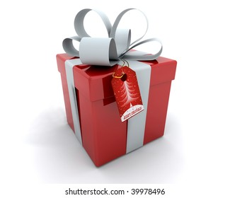 3D Render of Gift Box with Ribbon and Tag