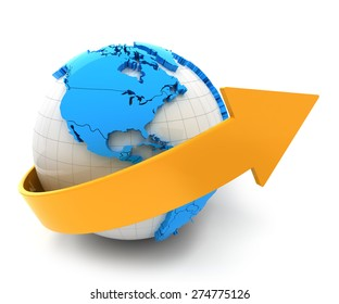 3d render of globe with arrow, white background