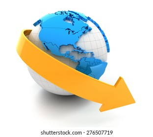 3d render of globe with downward arrow, white background