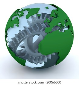 3D render of a globe with gears inside