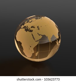 3d render of globe made of glass on black background