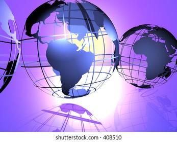 3d render of globes.