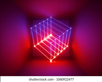 3d render, glowing lines, neon lights, abstract psychedelic background, cube cage, infrared, spectrum vibrant colors, laser show
