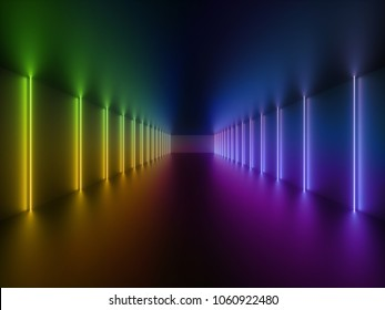 3d render, glowing lines, neon lights, abstract psychedelic background, corridor, tunnel, ultraviolet, spectrum vibrant colors, laser show
