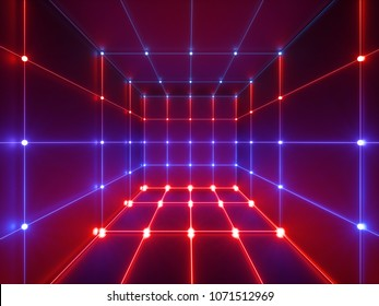3d render, glowing lines, neon lights, abstract psychedelic background, cube cage, ultraviolet, infrared, spectrum vibrant colors, laser show