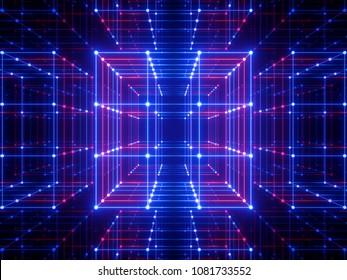 3d render, glowing lines, neon lights, abstract psychedelic background, cube cage, ultraviolet, blue, spectrum vibrant colors, laser show