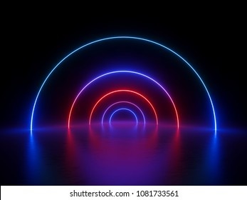 3d render, glowing lines, tunnel, neon lights, virtual reality, abstract background, round portal, arch, red blue spectrum, vibrant colors, laser show