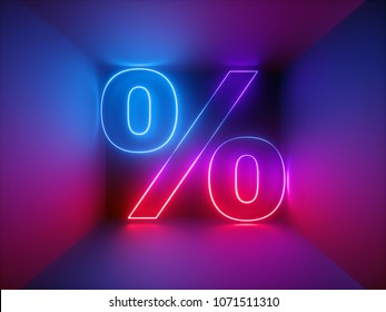 3d render, glowing percent symbol, discount, sale sign, neon lights, virtual reality, abstract business background, ultraviolet, red blue vibrant colors