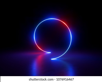 3d render, glowing ring, round line, spiral loop, neon lights, abstract background, virtual reality, circle, red blue spectrum, vibrant colors, laser show
