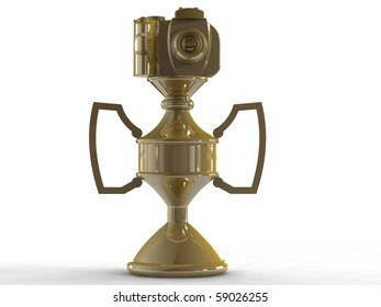 3d render of Gold DSLR camera trophy or cup isolated on white viewed from front