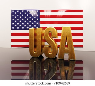 3d render: 3D Gold USA with American Flag Word Text Letters, USA United States of America Text Graphic Logo with American Flag Red and Blue Stars and Stripes Pattern