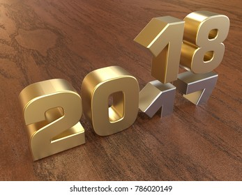 3D render - golden 2018 new year on a wooden background