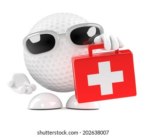3d render of a golf ball with a first aid kit