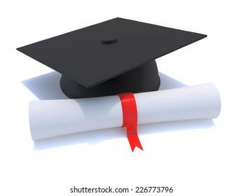 3d render of a graduates mortar board resting next to a diploma