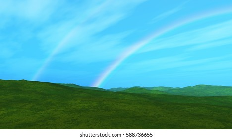 3D render of a grassy landscape with double rainbow
