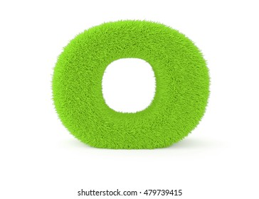 3d render green furry letter O on a white background.