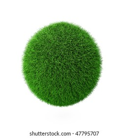 3d render of green grass ball on white