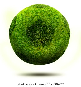 3d render, Green grass football. Isolated on white.