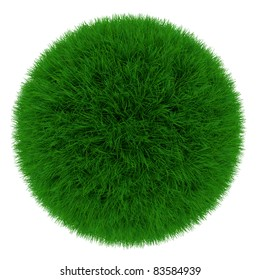 3d render of green grass sphere isolated on white background