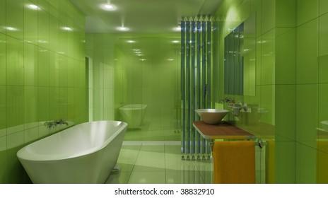 3d render of a green luxury bath