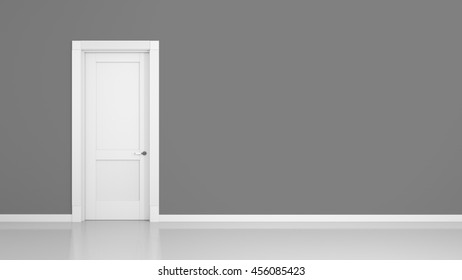 3D render of a grey wall and a door in an empty flat with space for your content