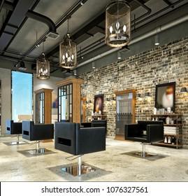 3d render of hairdresser saloon