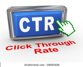 3d render of hand cursor pointer click on button with phrase ctr - cost through rate