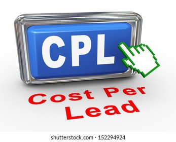 3d render of hand cursor pointer click on button with phrase cpl - cost per lead