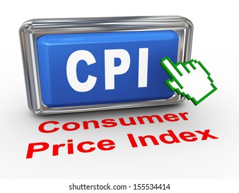 3d render of hand cursor pointer click on button with phrase cpi - consumer price index