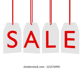 3d Render of Hanging Sale Tags Isolated on White