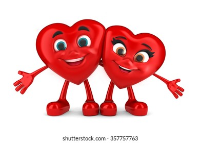 3d render of a happy hearts cuddling or hugging
