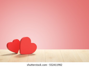 3D render of heart shape boxes. Background for Valentines Day.