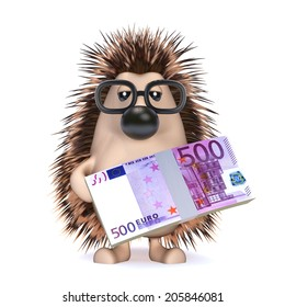 3d render of a hedge holding Euro currency notes