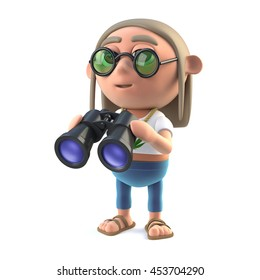 3d render of a hippie stoner holding a pair of binoculars
