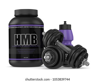 3d render of HMB container with dumbbells and bottle isolated over white background. Sport supplement concept.