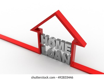 3d render of  Home loan concept